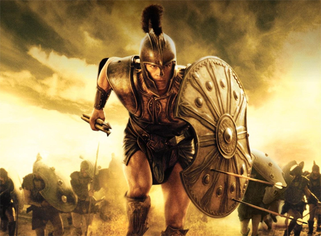 Brad Pitt in TROY with Spear and Shield