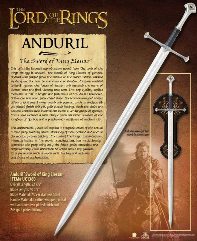 Lord of the Rings Anduril Sword of King Elessar United Cutlery