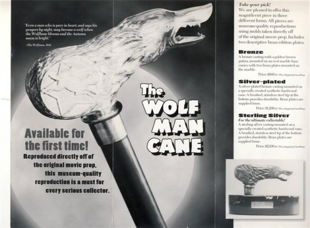 Wolfs Head Productions The Wolf Man Cane Prop replica