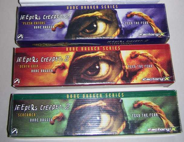 Rare Triple Set of JEEPERS CREEPERS Dagger Replicas Factory X Packaging